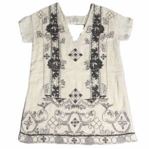 Free People Cream Linen Embroidered Mini Dress NWT